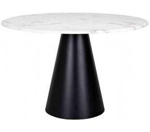 Dagas spisebord i marmor og stål Ø120 cm - Sort/Hvid marmor