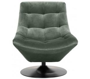 Richelle rotérbar lænestol i velour H81 cm - Sort/Jadegrøn