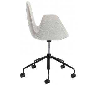 Yasmin kontorstol i polyester H81 - 93 cm - Sort/Lysegrå