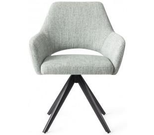 2 x Yanai Rotérbare Spisebordsstole H86 cm polyester - Sort/Sage grøn