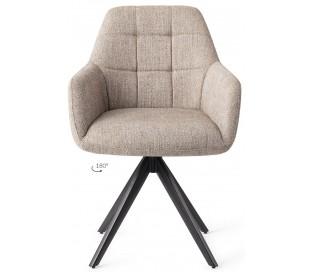 2 x Noto Rotérbare Spisebordsstole H86 cm polyester - Sort/Sandgrå
