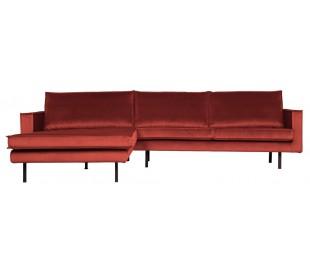 Sofa med venstrevendt chaiselong i velour 300 x 155 cm - Kastanje