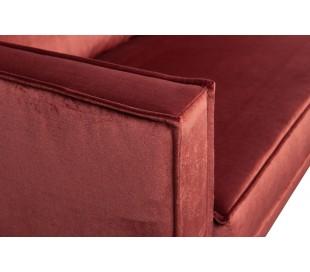 Sofa med højrevendt chaiselong i velour 300 x 155 cm - Kastanje