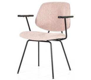 Lynn spisebordsstol med armlæn i polyester H82 cm - Sort/Pink