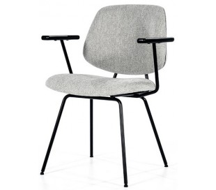 Lynn spisebordsstol med armlæn i polyester H82 cm - Sort/Grå