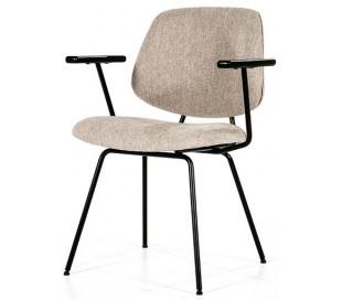 Lynn spisebordsstol med armlæn i polyester H82 cm - Sort/Beige