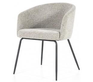 Astrid spisebordsstol med armlæn i polyester H77 cm - Sort/Lysegrå