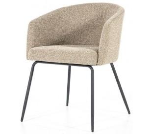 Astrid spisebordsstol med armlæn i polyester H77 cm - Sort/Beige