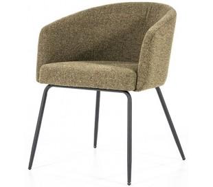 Astrid spisebordsstol med armlæn i polyester H77 cm - Sort/Grøn