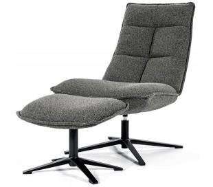 Marcus rotérbar lænestol med puf i polyester H94 cm - Sort/Antracit