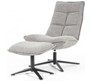 Marcus rotérbar lænestol med puf i polyester H94 cm - Sort/Lysegrå
