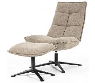Marcus rotérbar lænestol med puf i polyester H94 cm - Sort/Beige