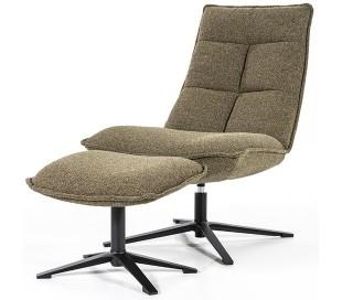 Marcus rotérbar lænestol med puf i polyester H94 cm - Sort/Grøn