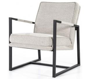 Isaac lænestol i metal og polyester H71 cm - Sort/Beige
