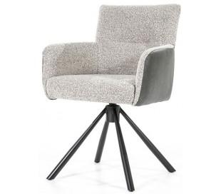Sef rotérbar spisebordsstol i læder og polyester H86 cm - Sort/Beige/Mørkegrå