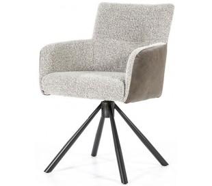 Sef rotérbar spisebordsstol i læder og polyester H86 cm - Sort/Beige/Brun