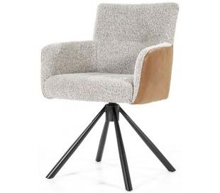 Sef rotérbar spisebordsstol i læder og polyester H86 cm - Sort/Beige/Cognac