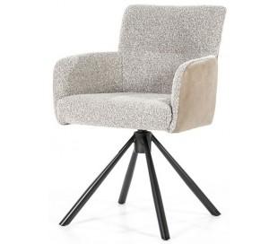 Sef rotérbar spisebordsstol i læder og polyester H86 cm - Sort/Beige/Taupe