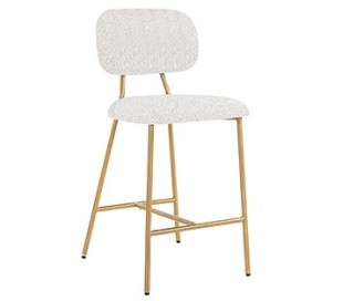 Xenia barstol i polyester H96,5 cm - Børstet guld/Hvid