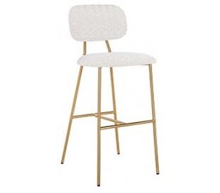 Xenia barstol i polyester H109,5 cm - Børstet guld/Hvid