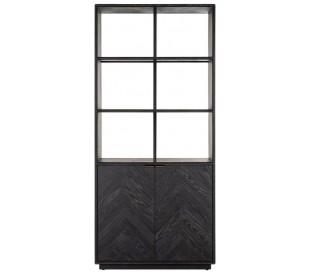 Blackbone reol i egetræsfinér H220 x B100 x D40 cm - Børstet sort/Antik messing