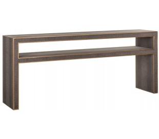Classio konsolbord i vegansk læder H75 x B180 x D40 cm - Antik guld/Gråbrun
