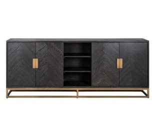 Blackbone sideboard i egetræ og stål B225 cm - Børstet sort/Antik messing