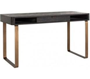 Blackbone skrivebord i egetræ og stål B140 cm - Børstet sort/Antik messing