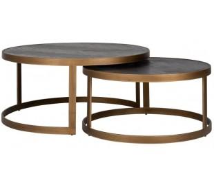 Blackbone sofaborde i egetræ og stål Ø74 + Ø91,5 cm - Antik messing/Børstet sort