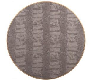 Classio sofabord i vegansk læder og stål Ø100 cm - Antik guld/Gråbrun