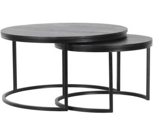 Catana sofaborde i mangotræ og stål Ø60 + Ø80 cm - Sort/Sort