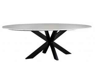 Lexington ovalt spisebord i marmor og jern 230 x 115 cm - Sort/Hvid marmor
