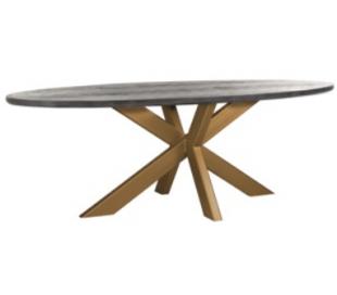 Blackbone ovalt spisebord i egetræ og stål 230 x 100 cm - Antik messing/Børstet sort