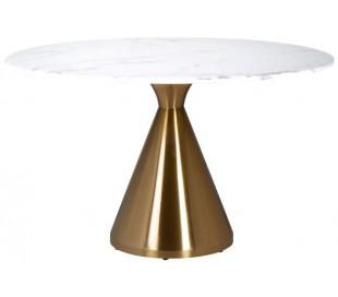 Tenille rundt spisebord i marmor og stål Ø130 cm - Børstet guld/Hvid marmor