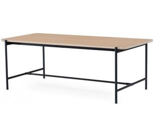 Ale spisebord i egetræsfinér og metal 210 x 100 cm - Sort/Hvidolieret