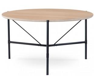Ale rundt spisebord i egetræsfinér og metal Ø135 cm - Sort/Hvidolieret
