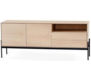 Ale sideboard i egetræsfinér og metal B184 cm - Sort/Hvidolieret