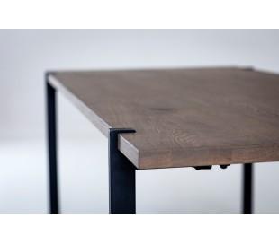Aki sofabord i egetræsfinér og metal 130 x 65 cm - Sort/Gråbejset