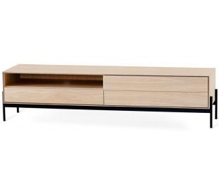 Ale tvbord i egetræsfinér og metal B184 cm - Sort/Hvidolieret