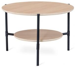 Ale sofabord i egetræsfinér og metal Ø80 cm - Sort/Hvidolieret