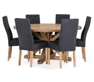 Arthur rundt spisebord i egetræ og egetræsfinér Ø150 cm - Eg
