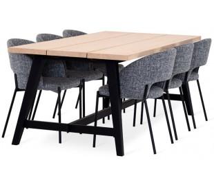 Bedrock spisebord i egetræsfinér og træ 220 x 95 cm - Sort/Hvidolieret eg