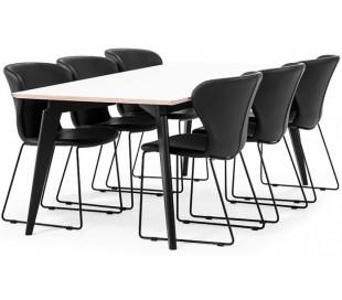 Bella spisebord i højtrykslaminat og træ 200 x 95 cm - Sort/Hvid/Natur