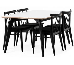 Bella spisebord i højtrykslaminat og træ 150 x 95 cm - Sort/Hvid/Natur