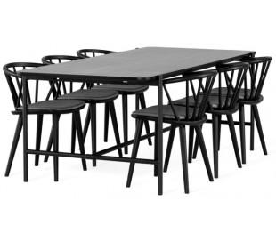 Cane spisebord i egetræsfinér og metal 210 x 100 cm - Sort/Sort