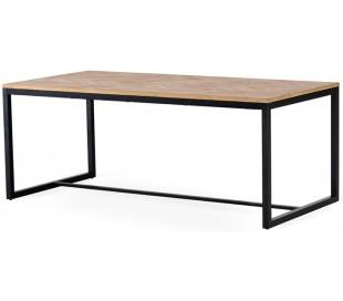 Fishbone spisebord i egetræsfinér og metal 190 x 95 cm - Sort/Olieret eg
