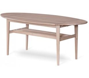 Flip sofabord i egetræ 90 - 140 x 69 cm - Hvidolieret eg