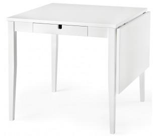 Klinte spisebord med 2 skuffer i birketræ og mdf 80 - 124 x 80 cm - Hvid