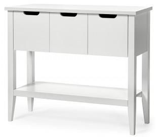 Klinte konsolbord med 3 skuffer i birketræ og mdf B93 cm - Hvid