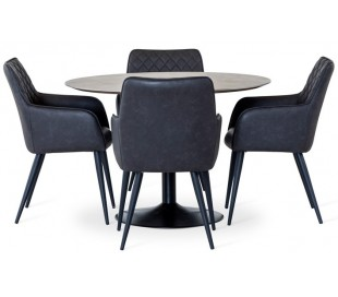 Miles rundt spisebord i laminat og metal Ø110 cm - Sort/Betongrå